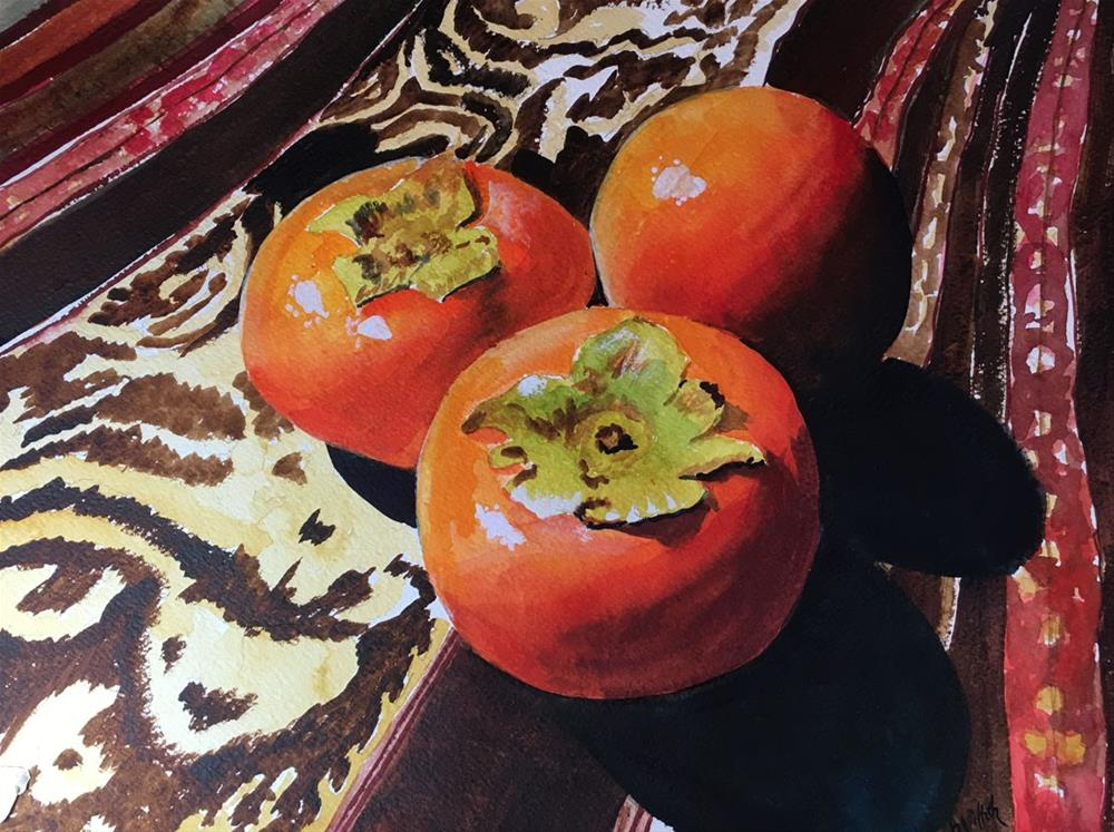 """Persimmon Still Life"" original fine art by Bunny Griffeth"