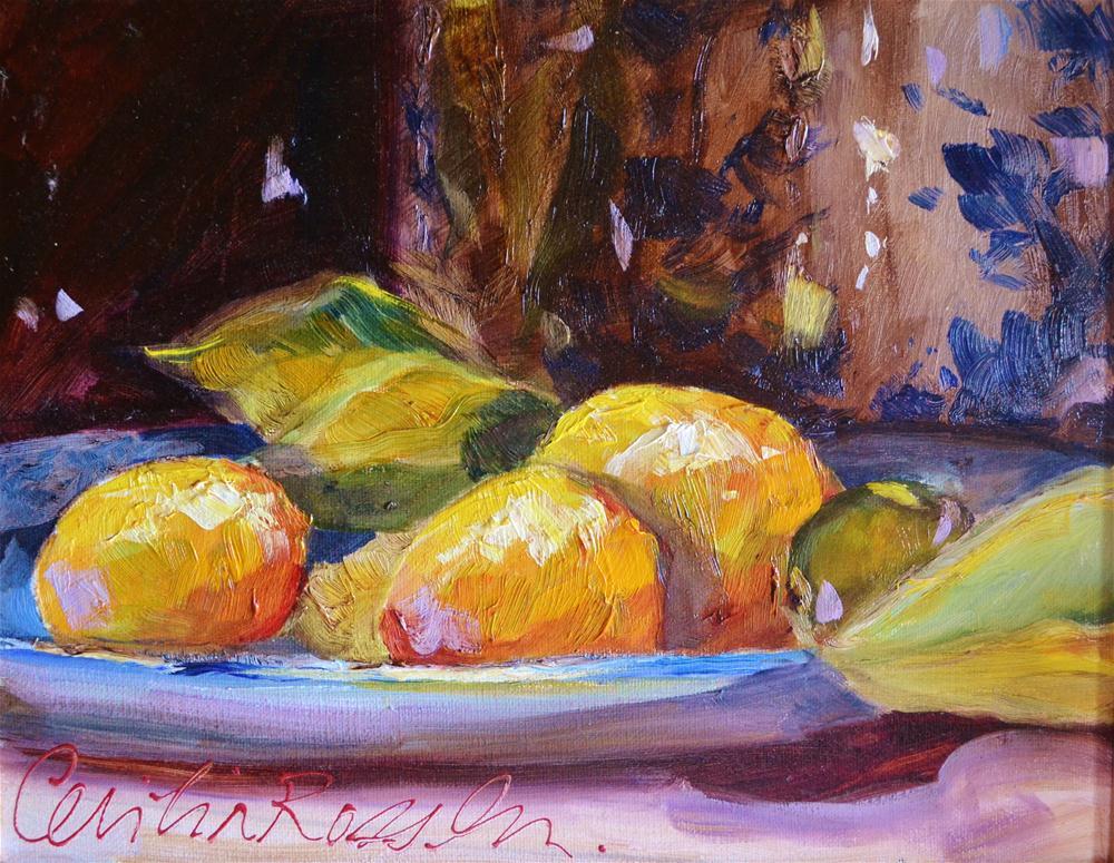 """LEMONS AND DELFT"" original fine art by Cecilia Rosslee"