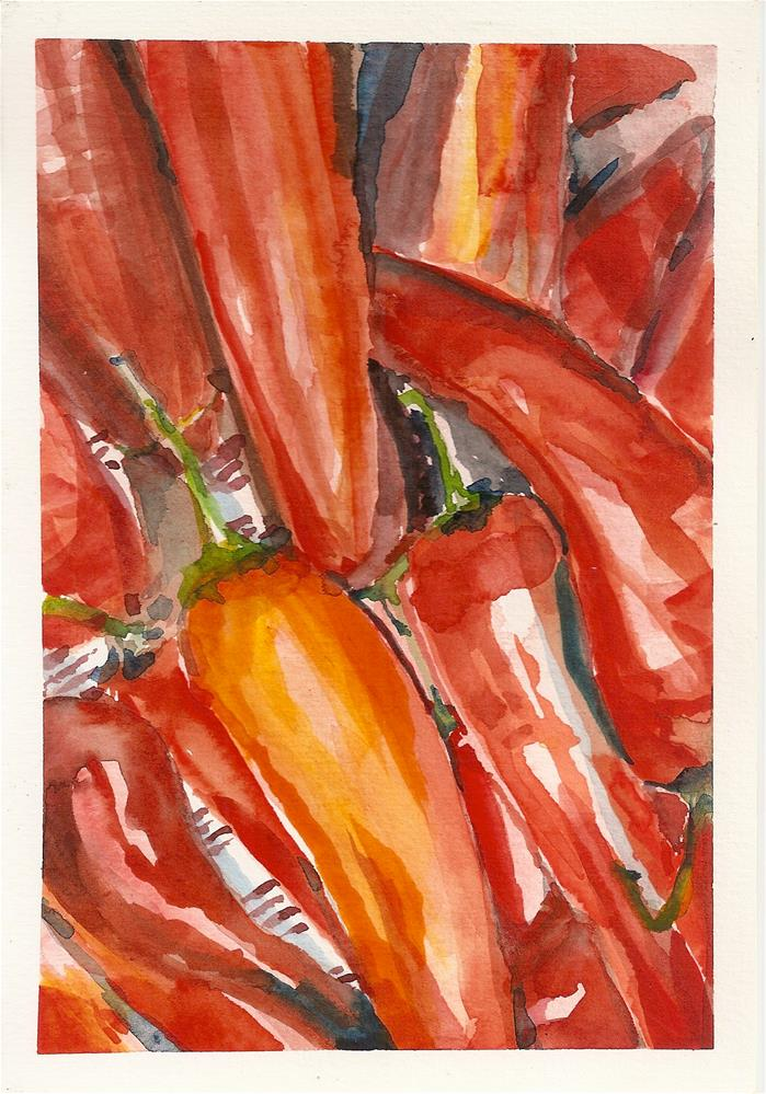"""Red Peppers"" original fine art by Jean Krueger"
