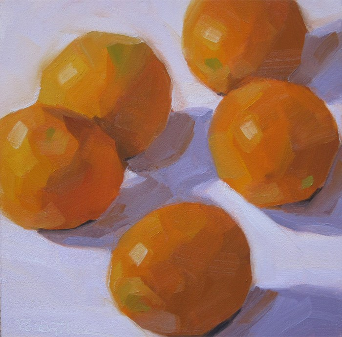 """Five Oranges"" original fine art by Robin Rosenthal"