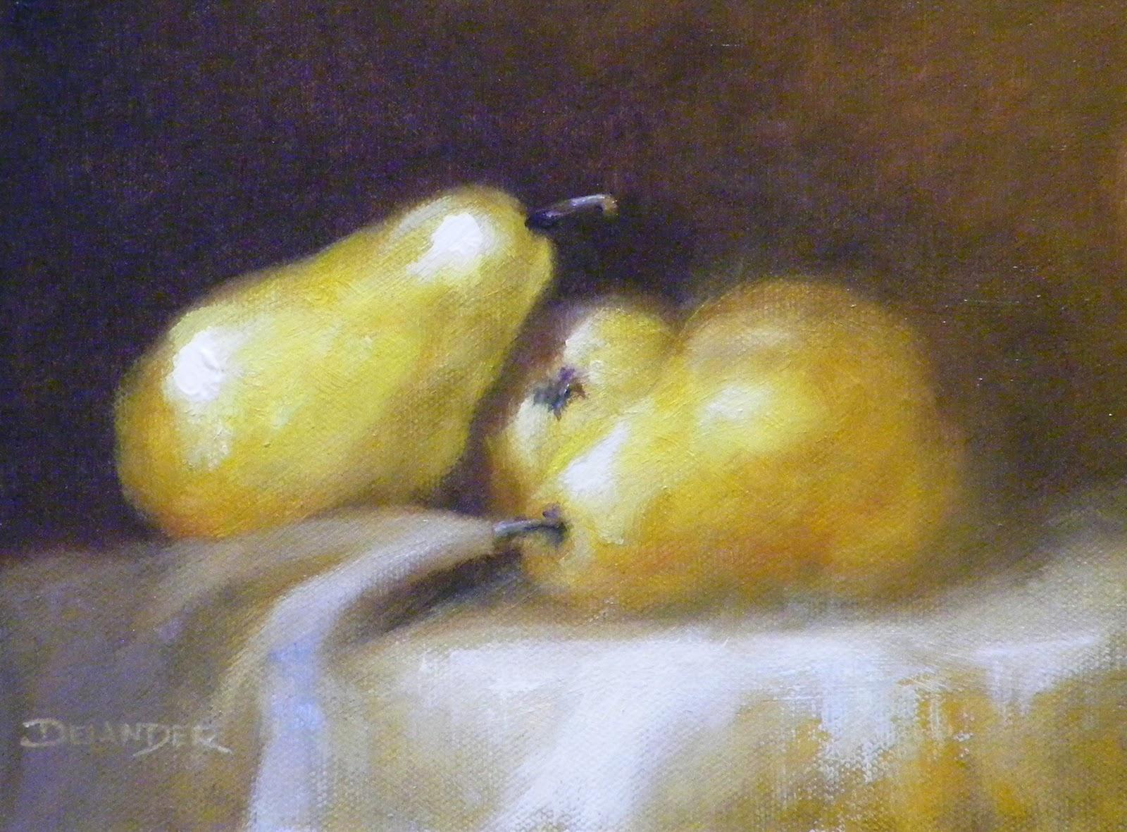 """""""3 Pears, Still Life, Oil"""" original fine art by Diana Delander"""
