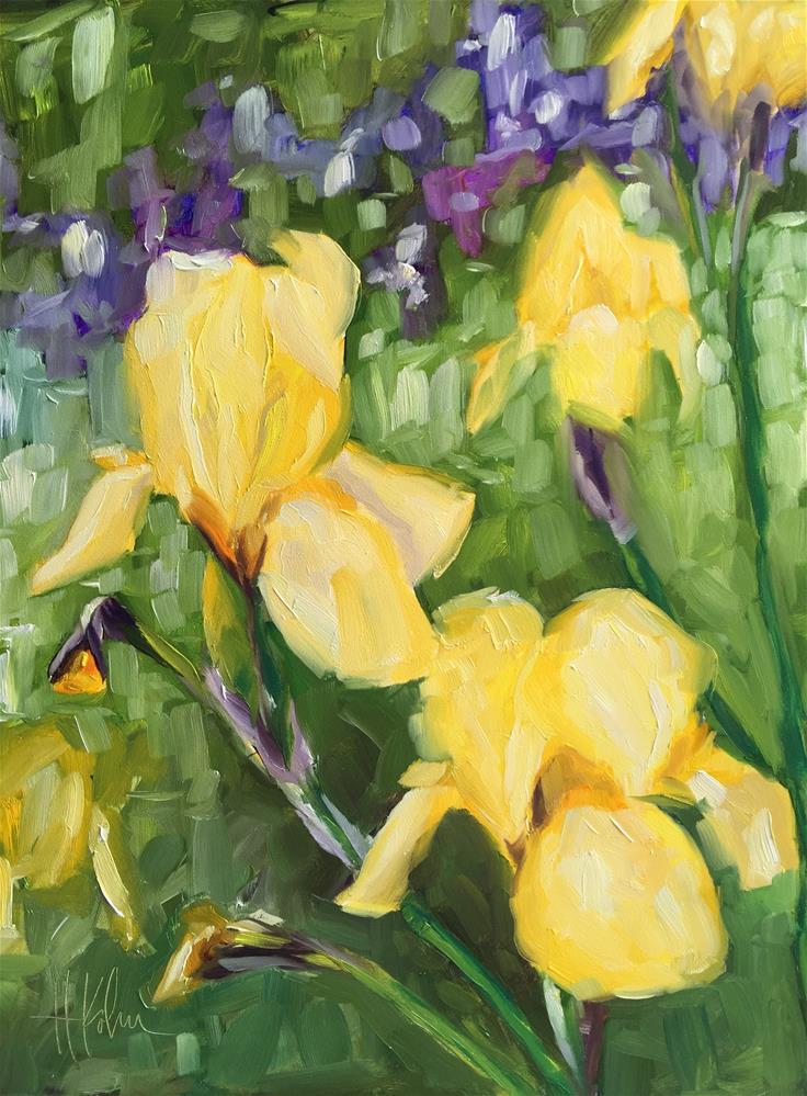 """Irises in the Garden"" original fine art by Hallie Kohn"