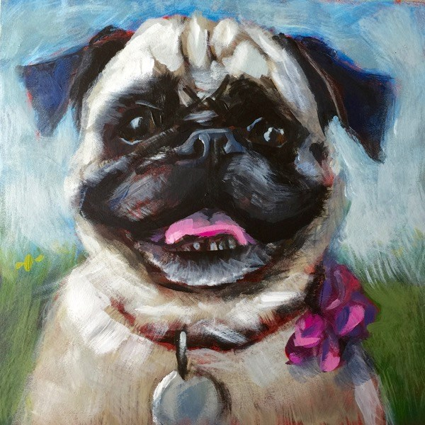 """June Pug"" original fine art by Mary Pargas"