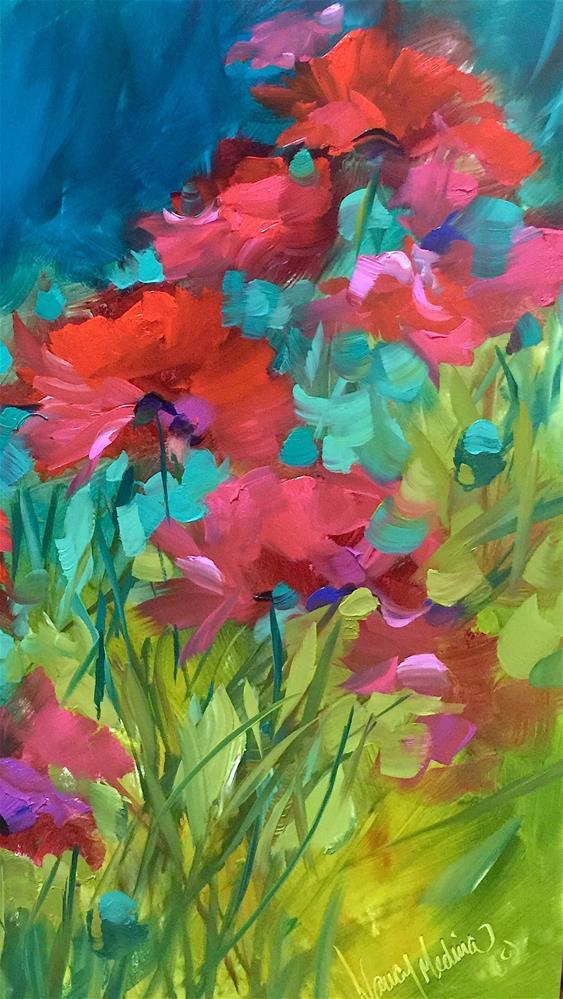 """Poppy Chorus"" original fine art by Nancy Medina"