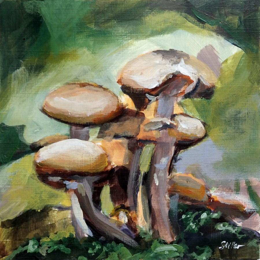 """""""1888 Mushroom Season"""" original fine art by Dietmar Stiller"""