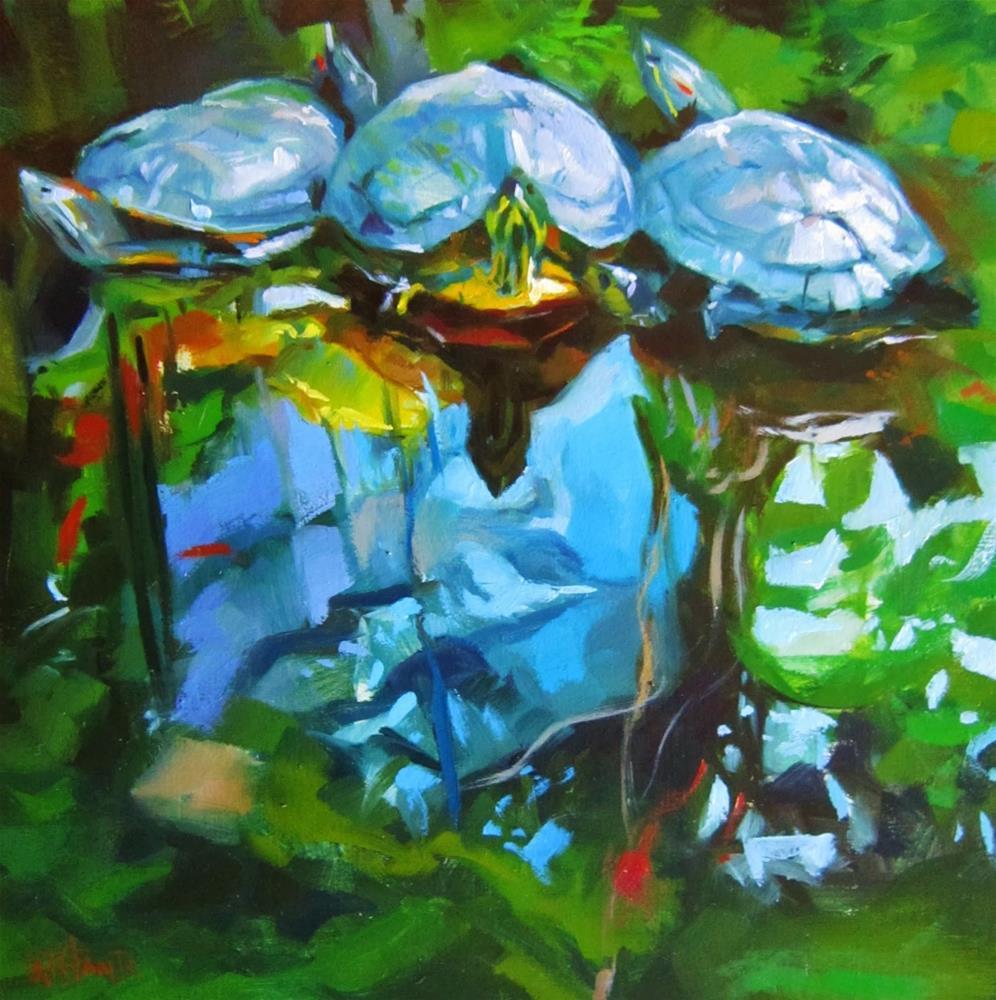 """Tres tortugas"" original fine art by Víctor Tristante"