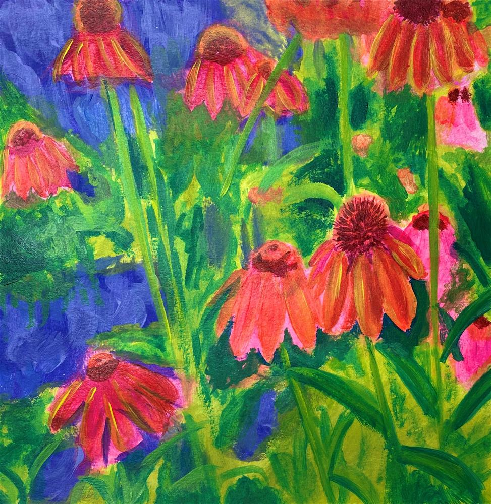 """Coneflowers"" original fine art by Marlisa Dunn"