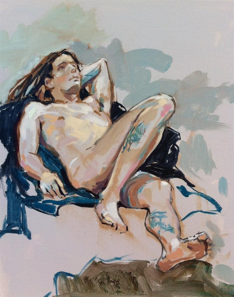"""Reclining male with tattoos"" original fine art by Haidee-Jo Summers ROI"