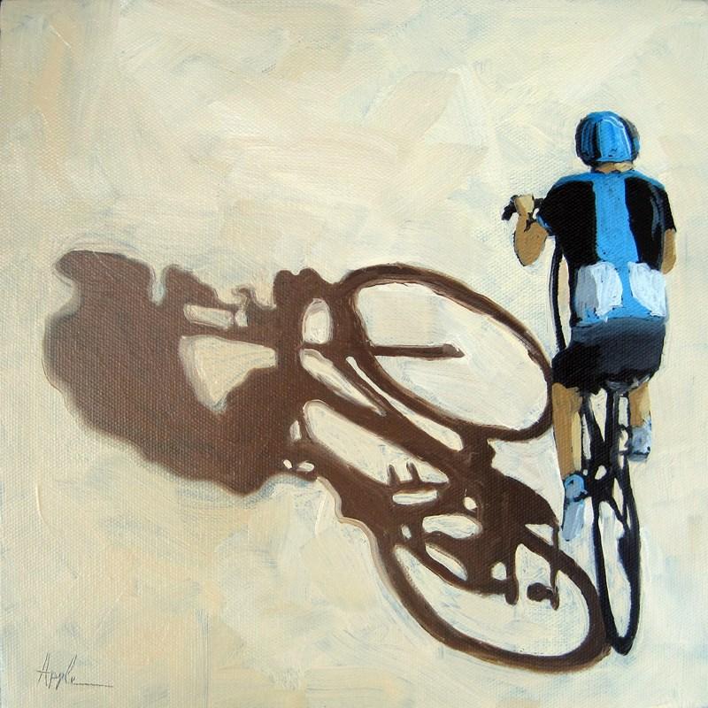 """""""Single Focus - Tour de France bicycle oil painting"""" original fine art by Linda Apple"""