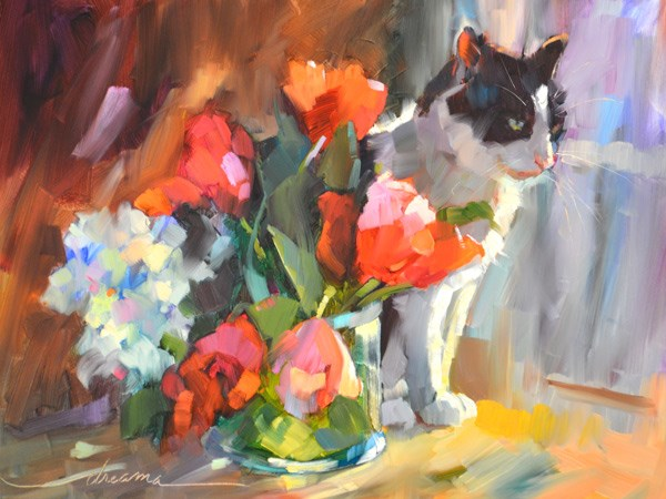 """""""Furfect Bouquet"""" original fine art by Dreama Tolle Perry"""