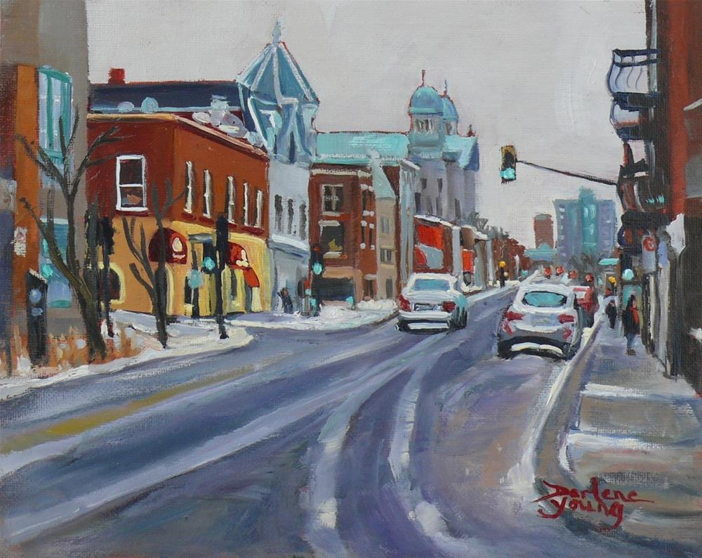 """1041 Montreal Scene, Petit Patrie, 8x10, oil on board"" original fine art by Darlene Young"