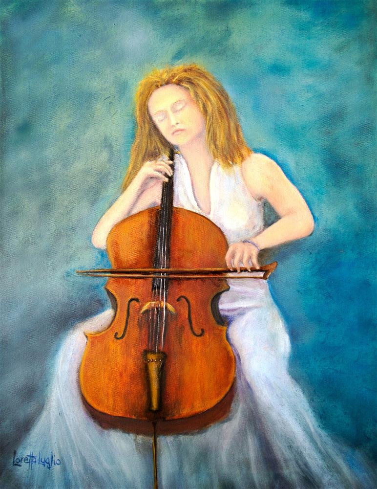 """""""The Cello Player"""" original fine art by Loretta Luglio"""
