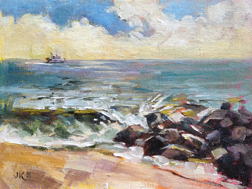"""""""Whale Watchers"""" original fine art by Jeanne Bruneau"""