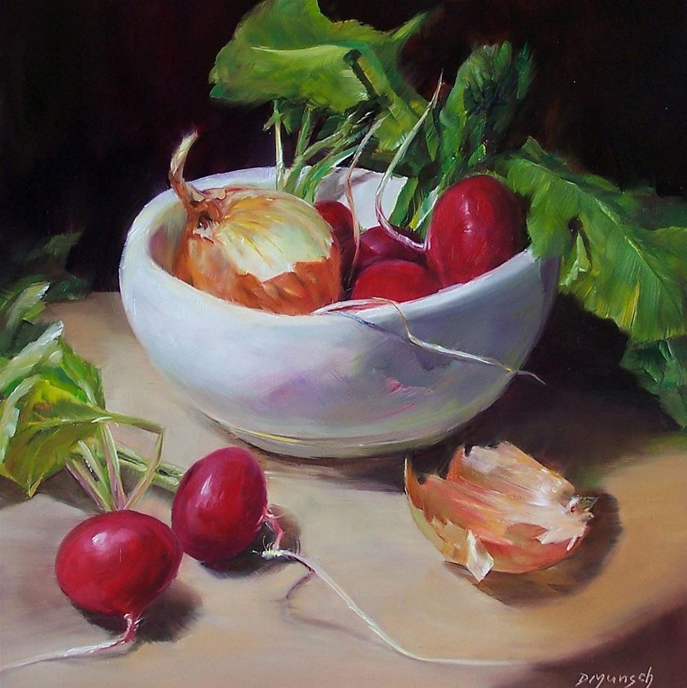 """Radishes and Onion"" original fine art by Donna Munsch"
