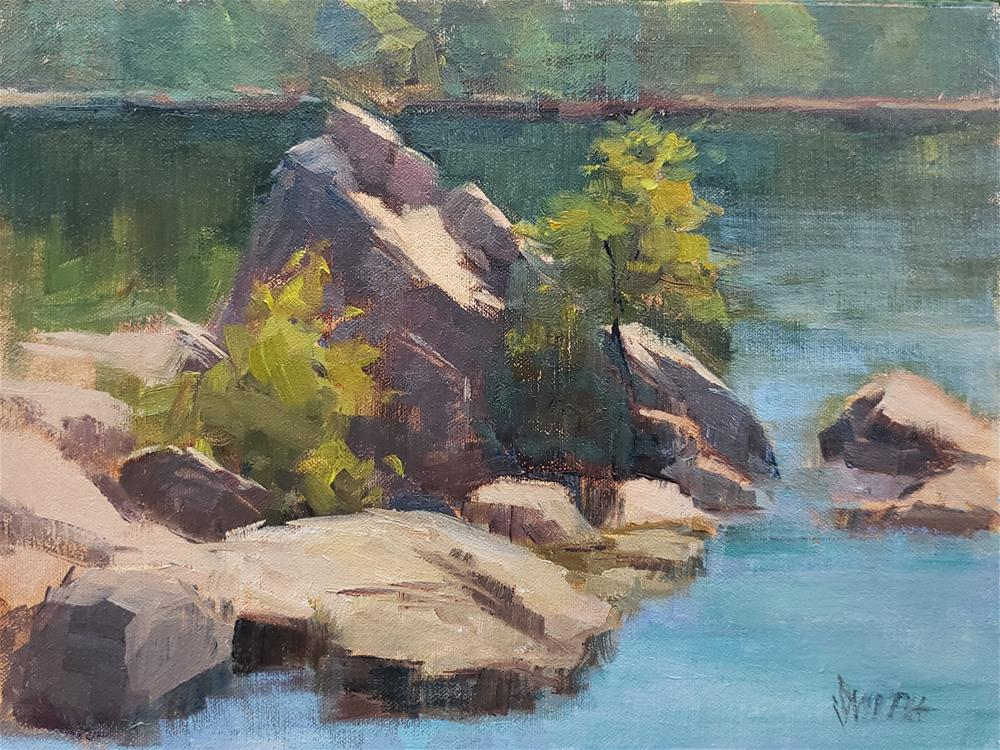 """Rock Formations, Lake Natoma "" original fine art by Barbie Smith"