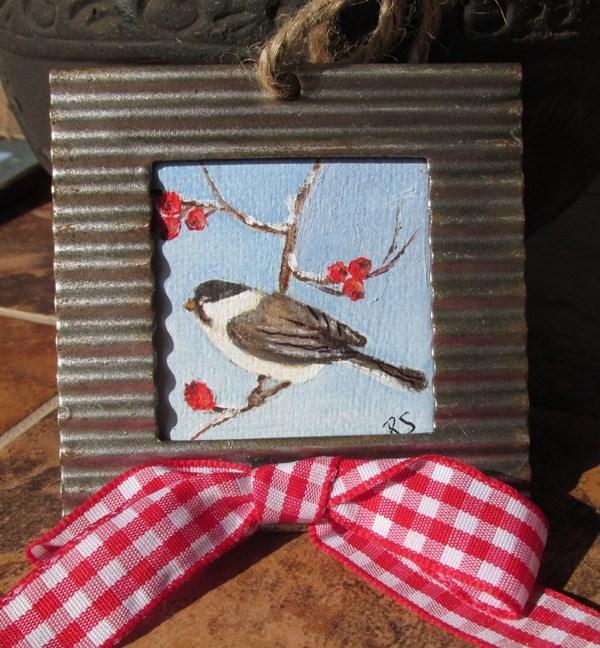 """""""Chick-a-dee-dee-dee Ornament"""" original fine art by Ruth Stewart"""