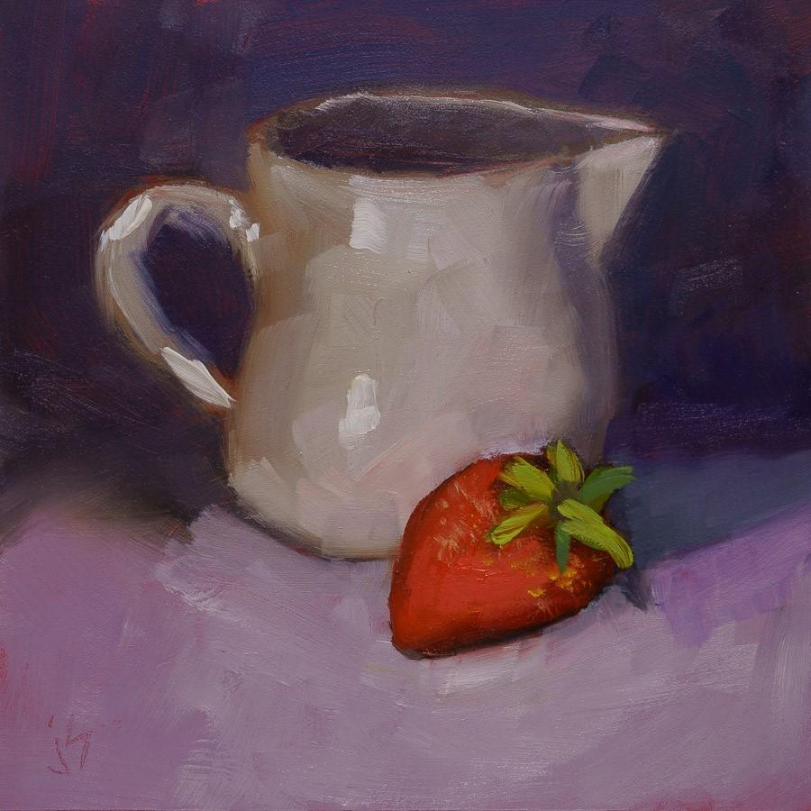"""""""Besties - Strawberry and Cream"""" original fine art by Johnna Schelling"""