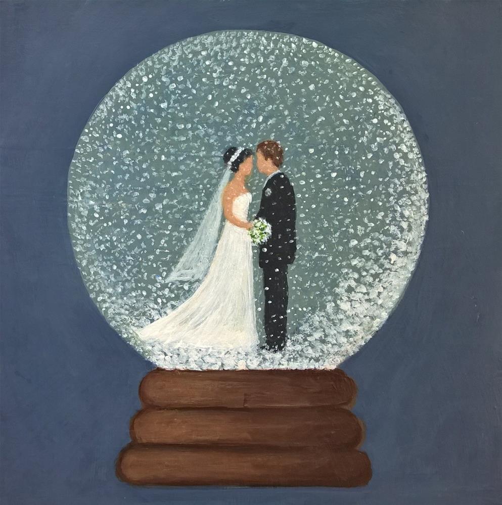 """Snow globe wedding scene"" original fine art by Joan Matero"