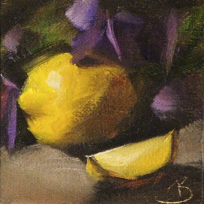 """Lemons and Purple Pansies"" original fine art by Pamela Blaies"