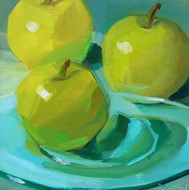 """Three Green Apples 2"" original fine art by Robin Rosenthal"