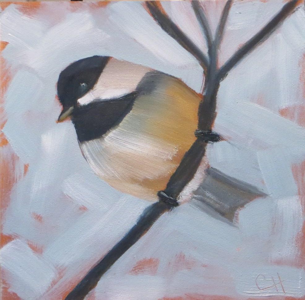 """Chickadee"" original fine art by Claire Henning"
