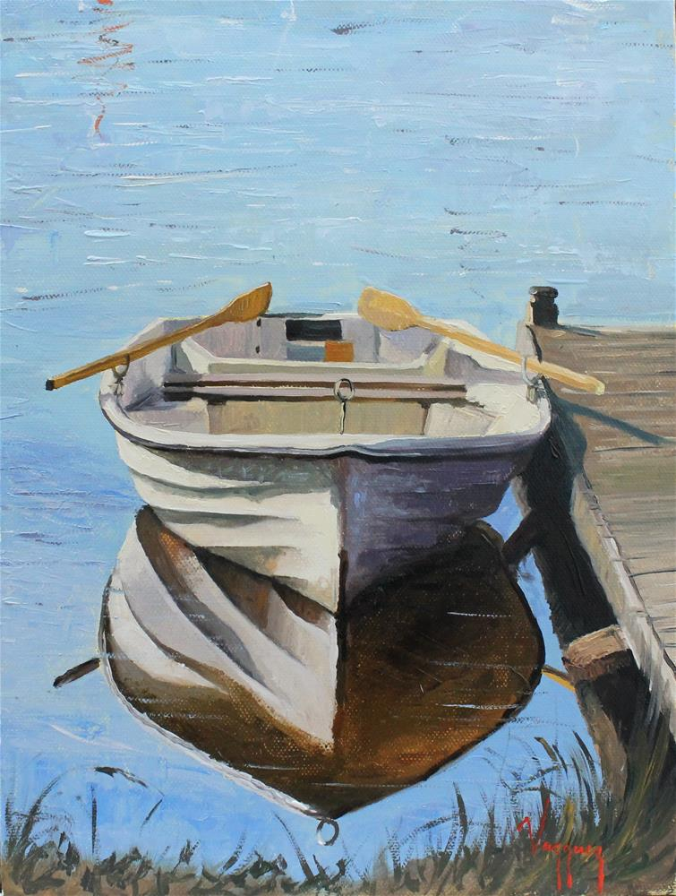 """Dock rowboat"" original fine art by Marco Vazquez"