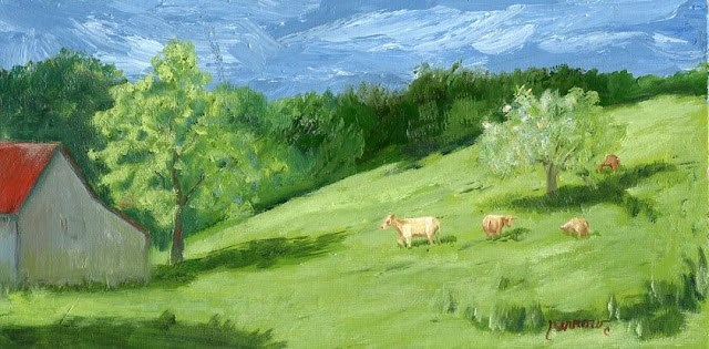 """ORIGINAL LANDSCAPE FARM PAINTING PLEASANT GROVE FARM"" original fine art by Sue Furrow"