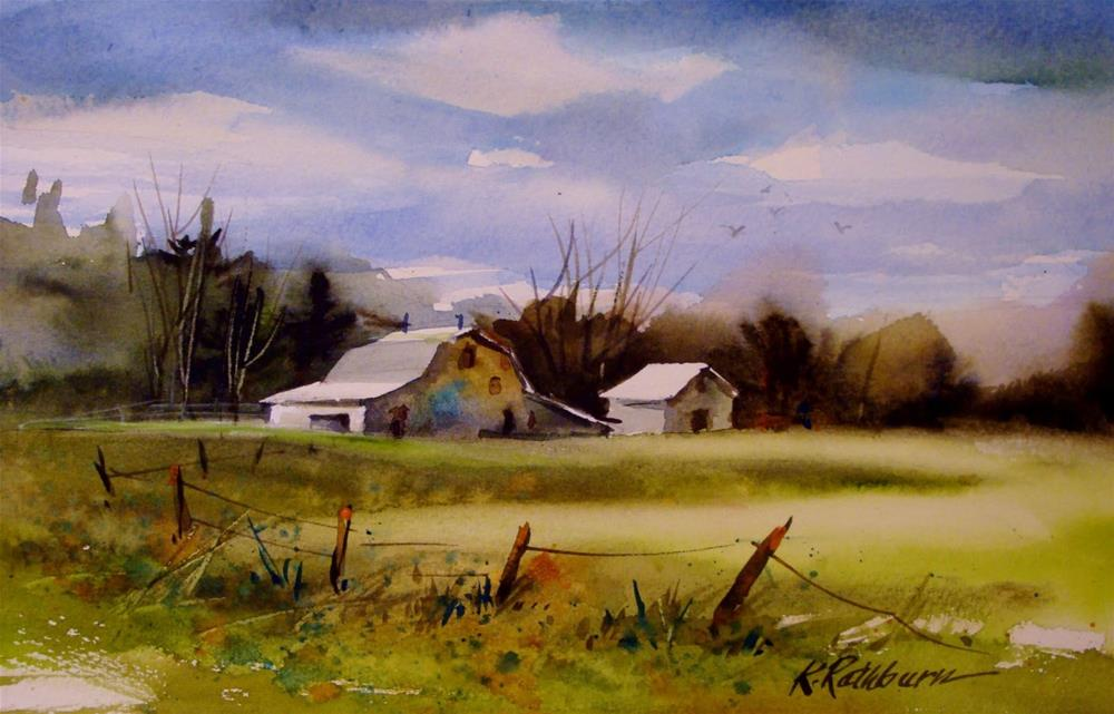 """just a farm/trying some new paints"" original fine art by Kathy Los-Rathburn"