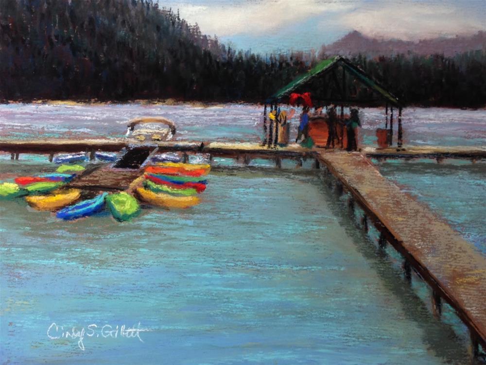 """Redfish Lake Boat Dock 2"" original fine art by Cindy Gillett"