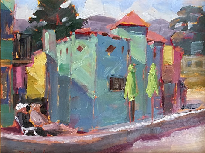 """Capitola Rainbow"" original fine art by Deborah Newman"