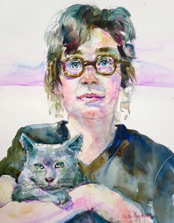 """tortoise shell glasses and a grey cat"" original fine art by Nora MacPhail"