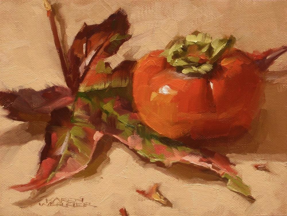 """""""Leaf & Persimmon"""" original fine art by Karen Werner"""
