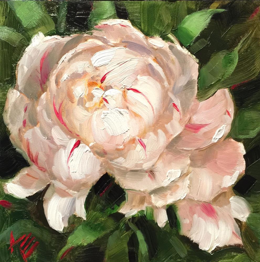 """White Peonie"" original fine art by Krista Eaton"