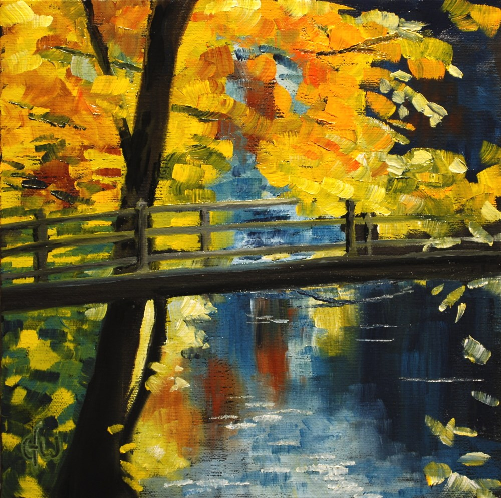 """Autumn Bridge"" original fine art by Gary Westlake"