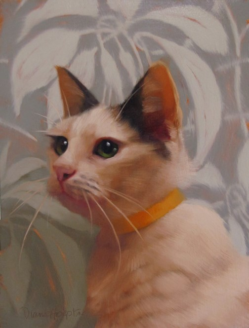 """Glenda the green eyed beauty, new cat painting"" original fine art by Diane Hoeptner"