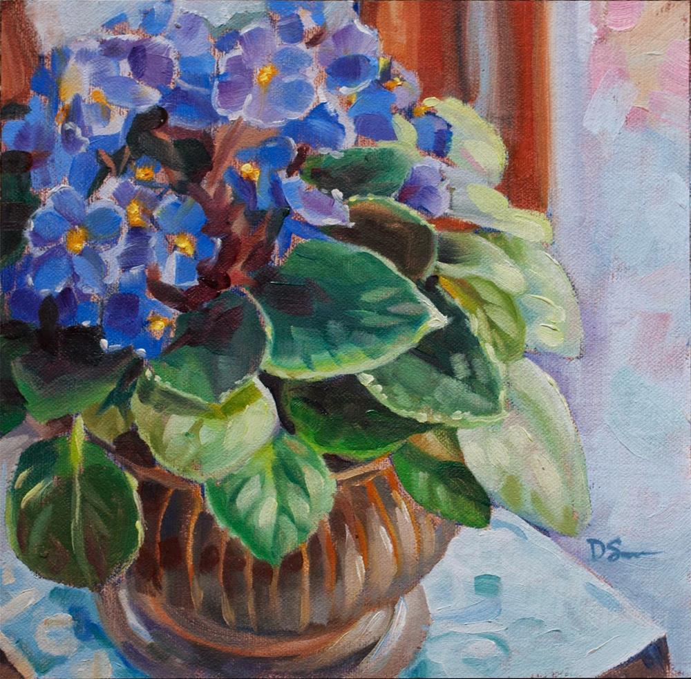 """Mom's Violets"" original fine art by Deborah Savo"