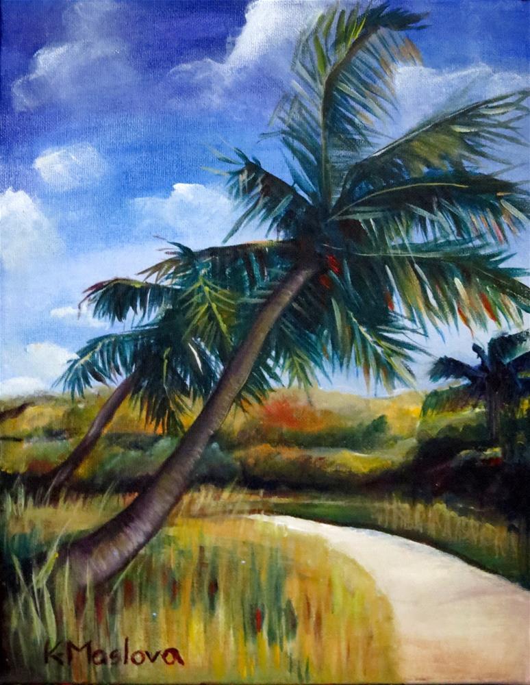 """Palm Trees"" original fine art by Kulli Maslova"