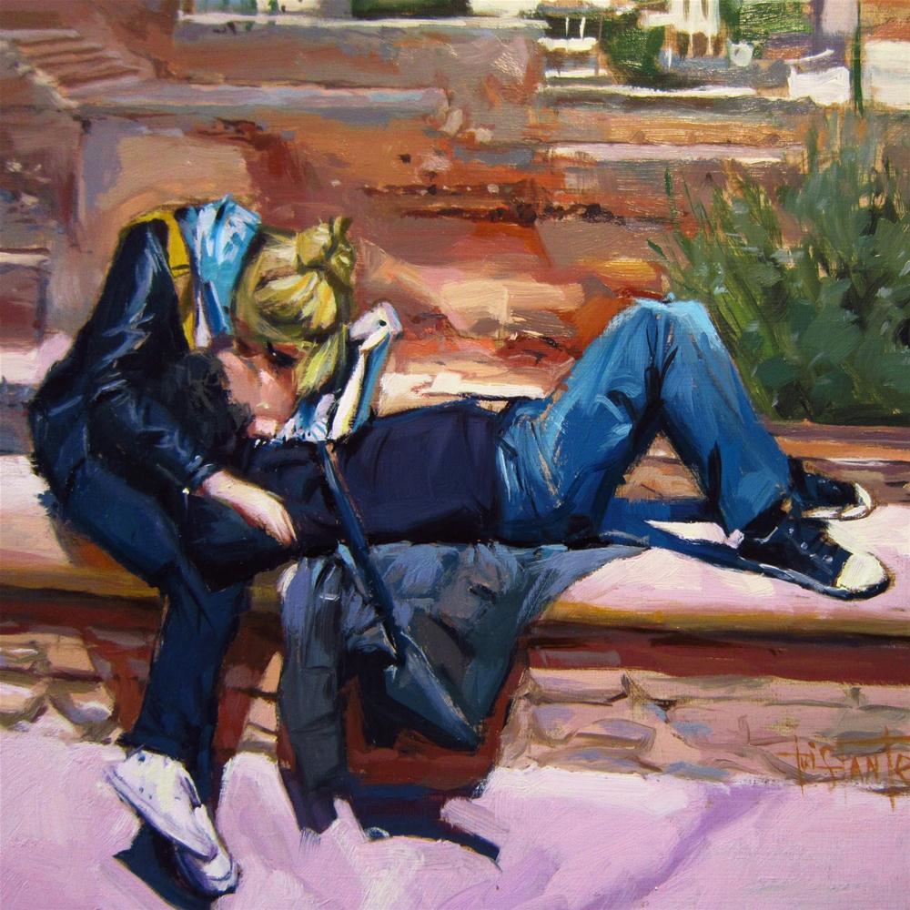 """Kiss"" original fine art by Víctor Tristante"