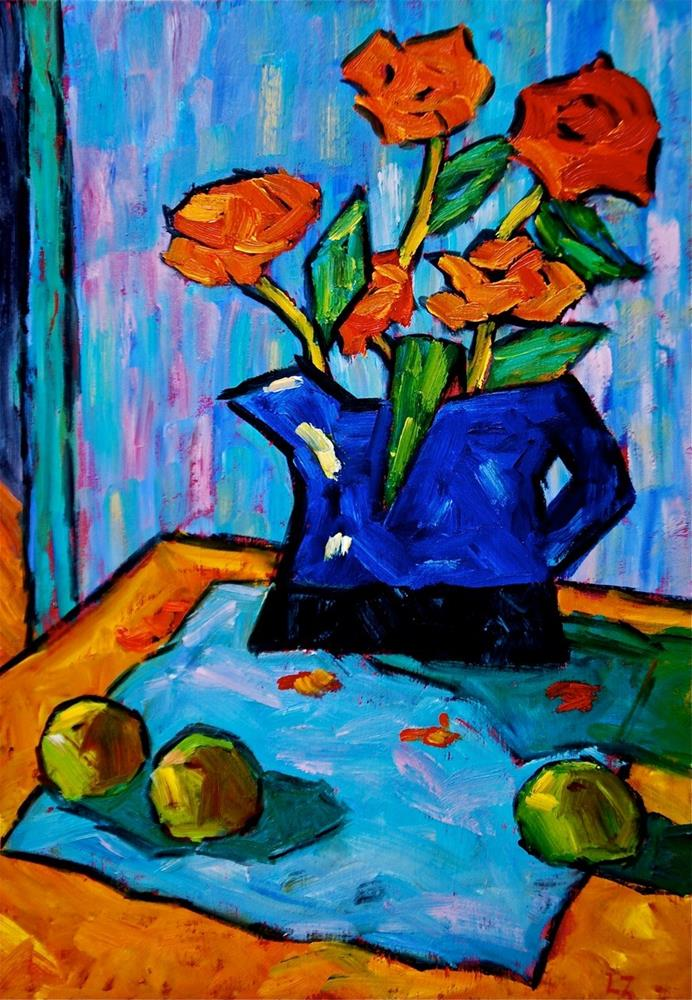"""Coral Roses and Green Apples"" original fine art by Liz Zornes"
