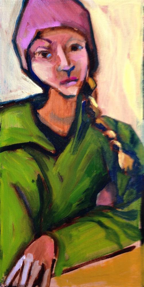 """Green Girl-Pink Hat"" original fine art by Pamela Hoffmeister"