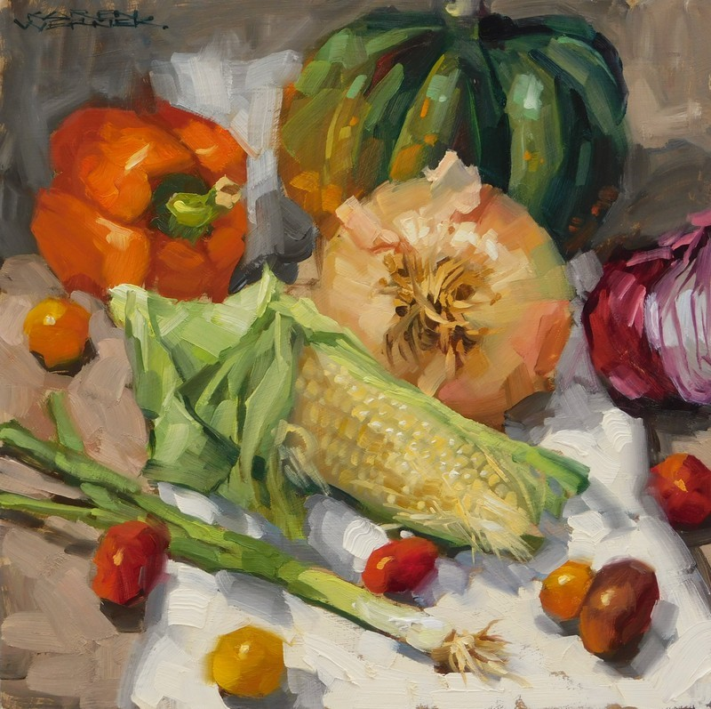 """Eat Your Corn"" original fine art by Karen Werner"