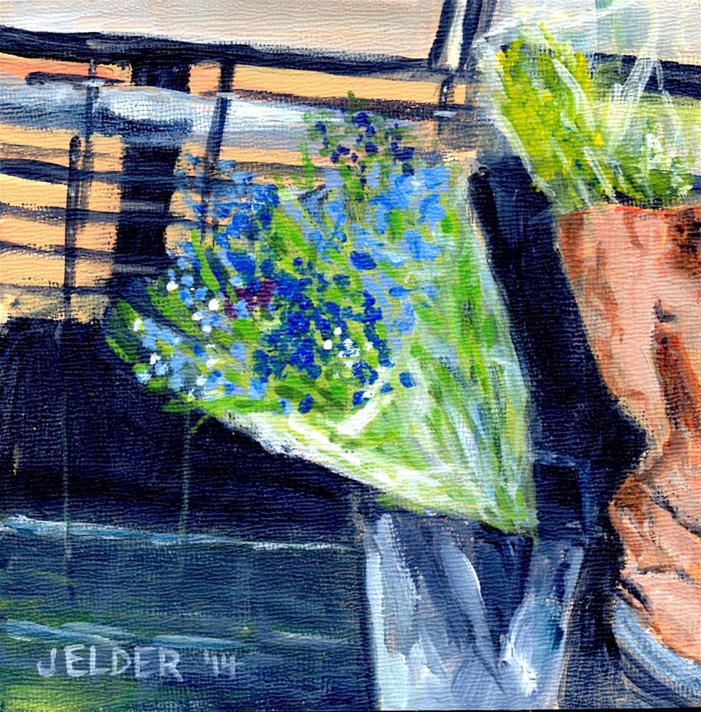 """Bouquet of Blue"" original fine art by Judith Elder"