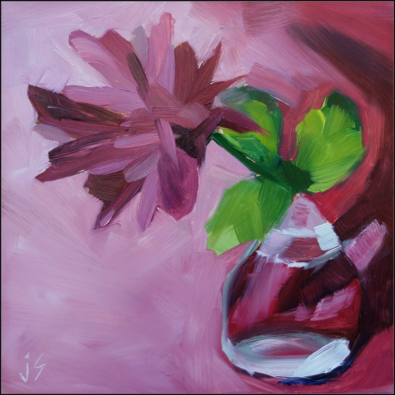 """""""Glass Challenge Red Chrysanthemum"""" original fine art by Johnna Schelling"""
