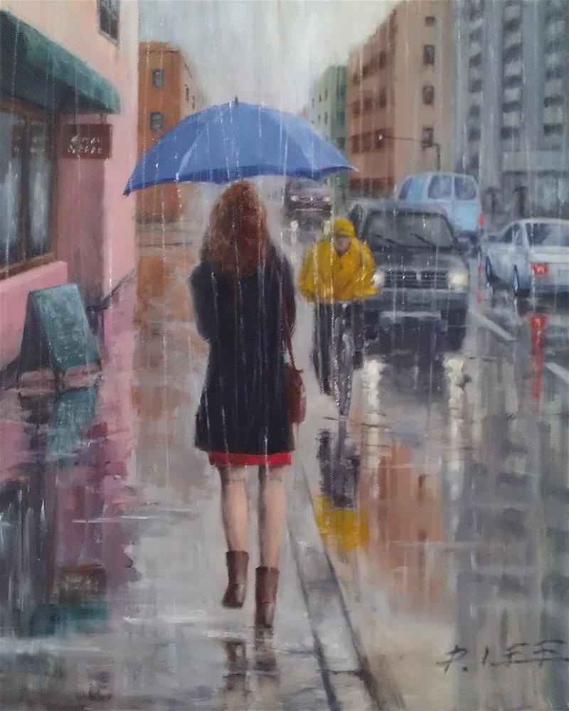 """Blue Umbrella"" original fine art by Peter Lee"