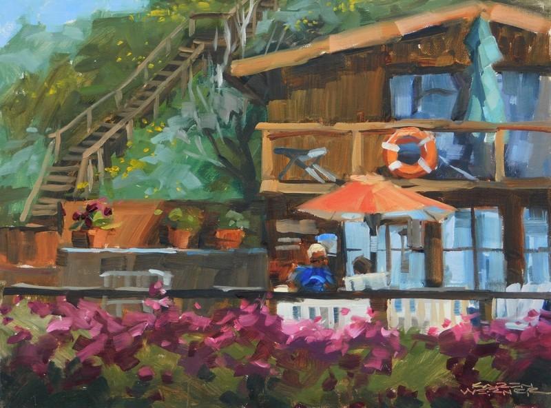 """""""Visiting Crystal Cove"""" original fine art by Karen Werner"""