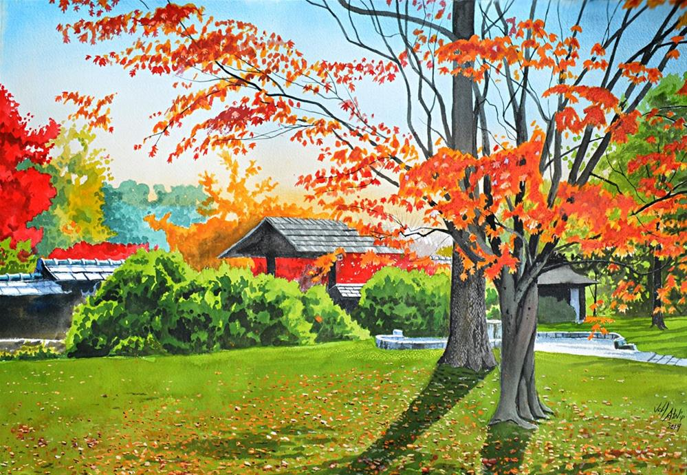 """Japanese Garden Autumn"" original fine art by Jeff Atnip"