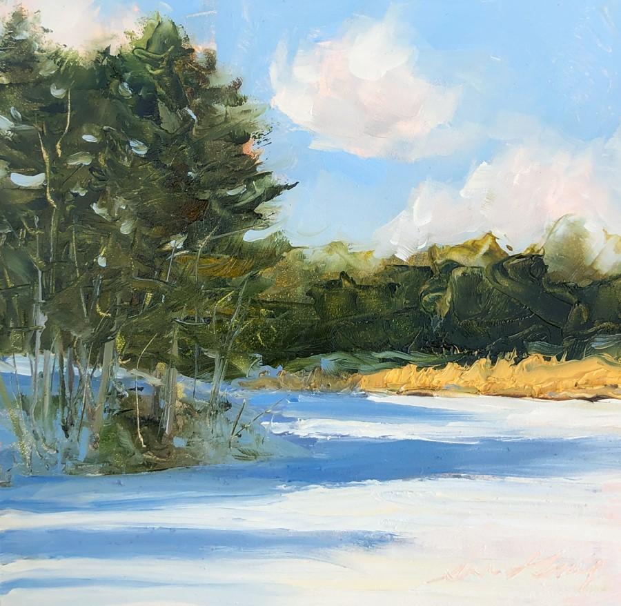 """""""#212 - Frozen Pond & Cattails - Freeport, ME"""" original fine art by Sara Gray"""