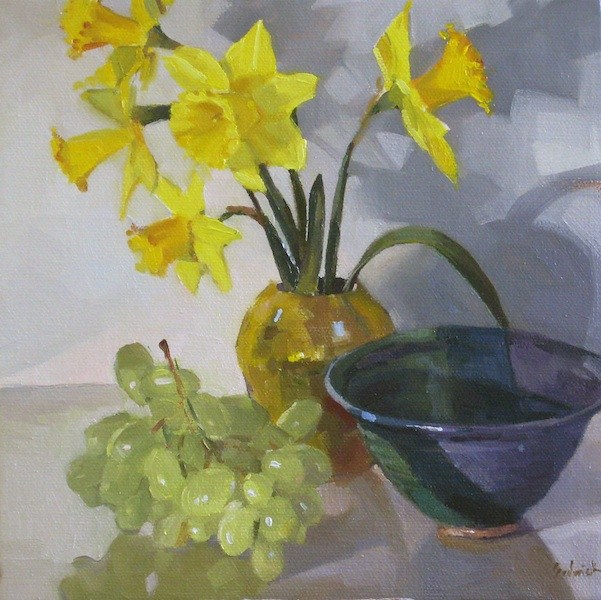 """""""Daffodils in a Gold Vase floral flower painting still life fruit flowers oil on canvas"""" original fine art by Sarah Sedwick"""
