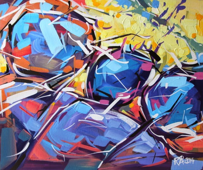 """""""Shapes & Movement 7"""" original fine art by Roger Akesson"""