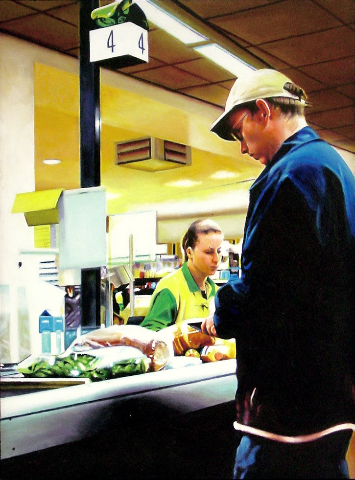 """""""The Check Out- Painting Of Man In Supermarket"""" original fine art by Gerard Boersma"""